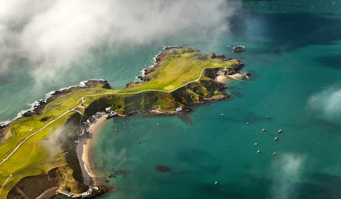 Aerial view of the Lynn Peninsula and the Nefyn and District Golf Club