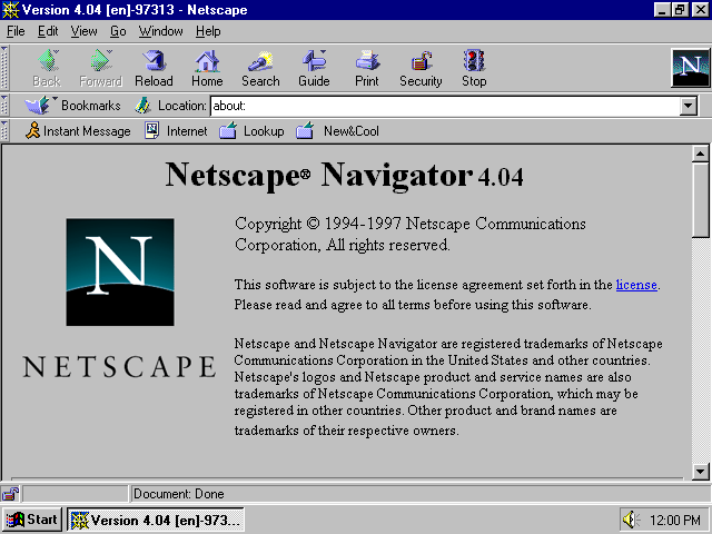 What a browser looked like in 1994!
