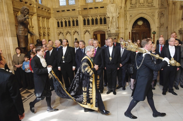 The Speaker of the House of Commons, walking through the Commons' Lobby