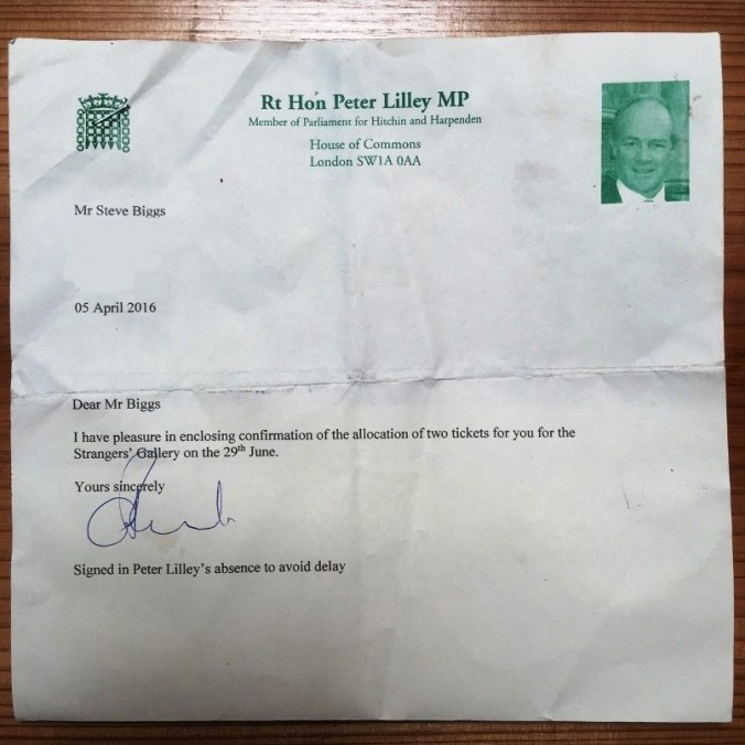 The PMQ letter sent to me by Peter Lilley MP
