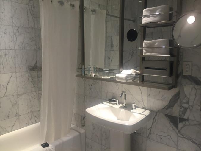 My tastefully decorated Dream Hotel bathroom