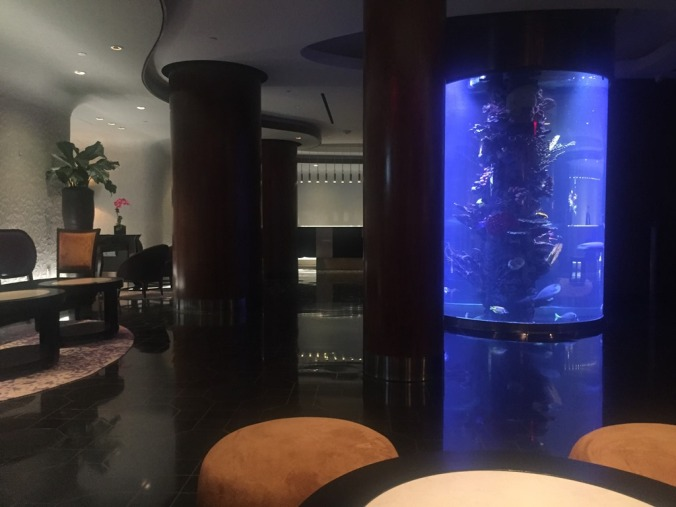 The aquarium in the Dream Hotel foyer