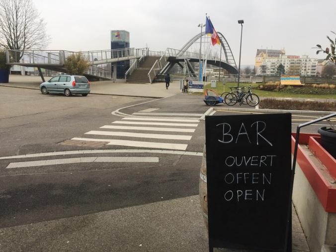 The Dreiländereck Bridge outside the La Huninguoise bar in French Huningue