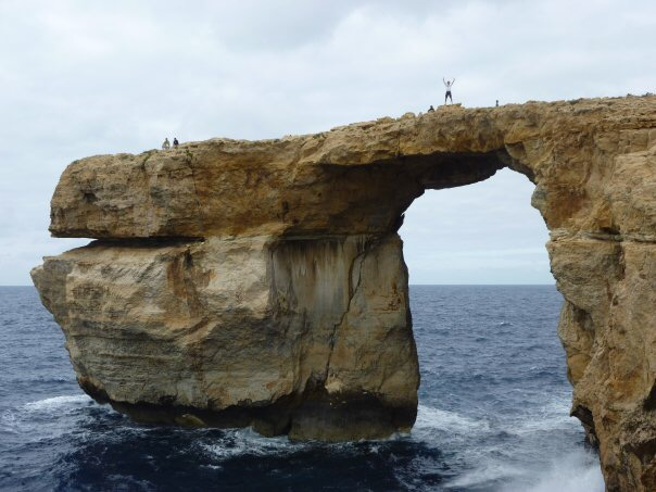 Walking across the Azure Window in 2010