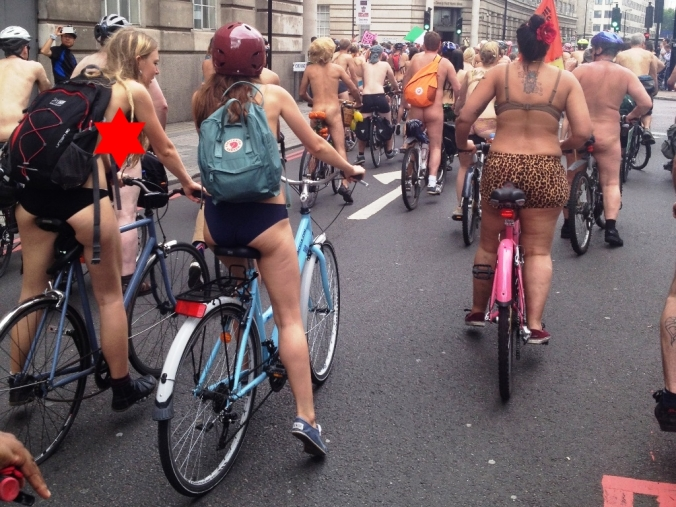 Naked bike ride London ambling along