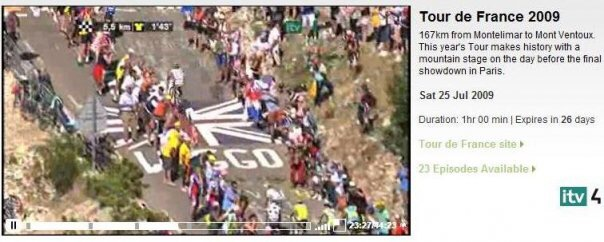 Mentioned on ITV4. The yellow jersey (Lance Armstrong) in the bottom of the pic!!