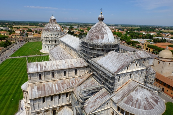The view from the top of the Pisa Cathedral nextdoor