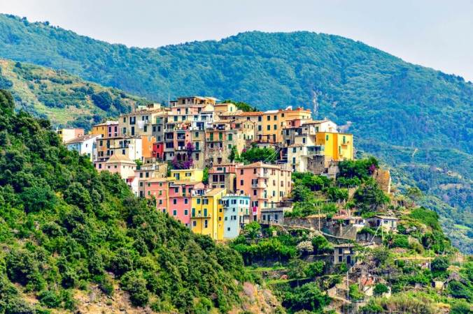 The view of Corniglia on the walking trail from Vernazza