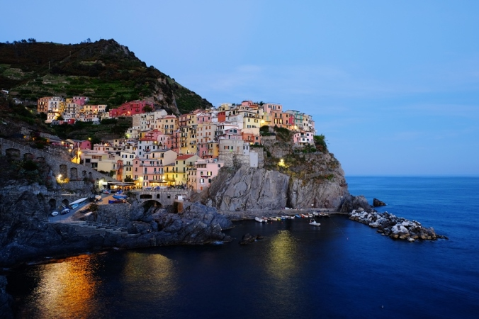 The view of Manarola from the main walkway at dusk
