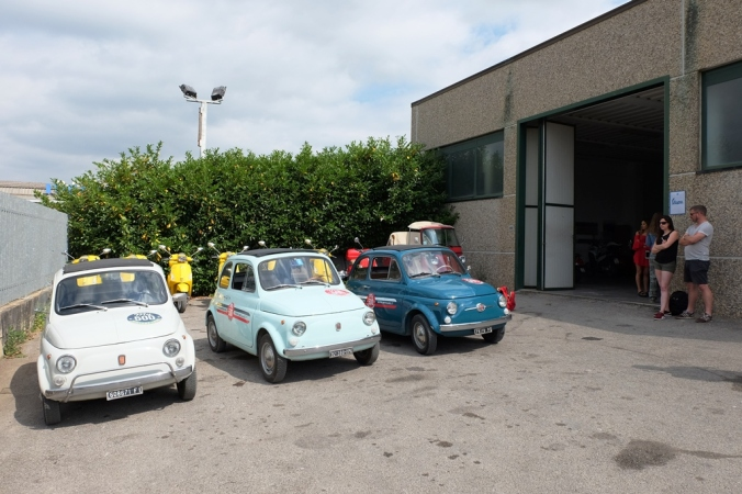 At the garage waiting to choose our Fiat 500s