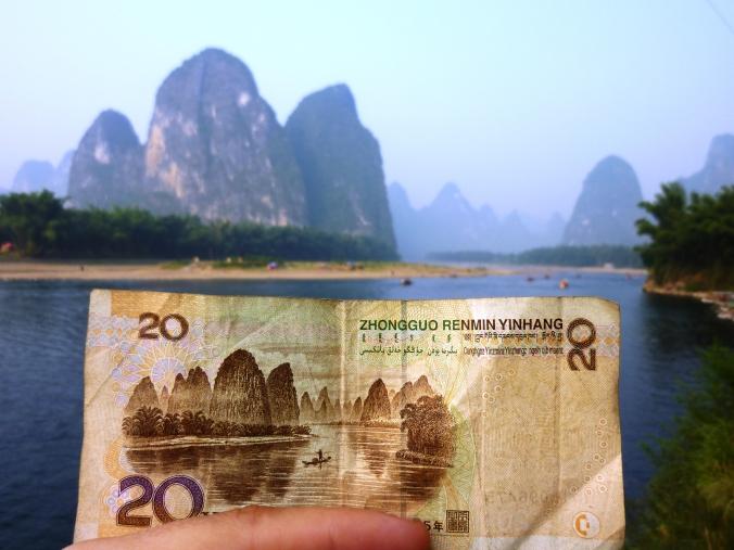 The China 20 yuan banknote view