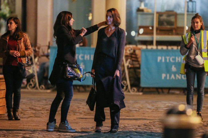 Doctor Foster preparing for a scene in the Market Square